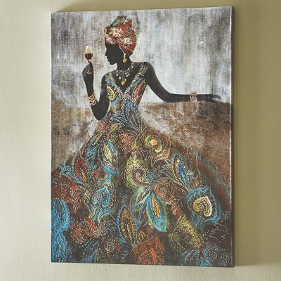 African Lady In Embellished Dress Print From Midnight