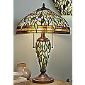 Green Leaves Double Lighted Stained Glass Lamp