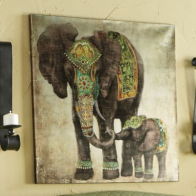 Embellished Mother and Baby Elephant Canvas