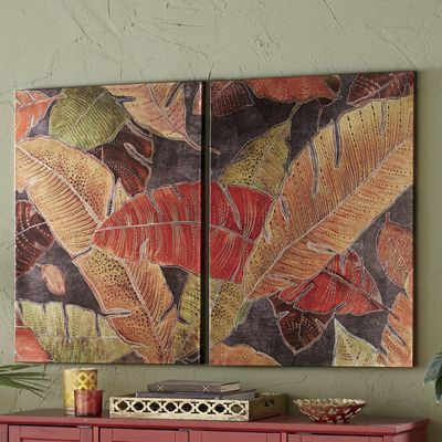 2-Piece Palm Leaves Art