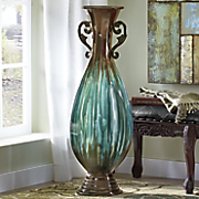 large blue ombre vase with handles
