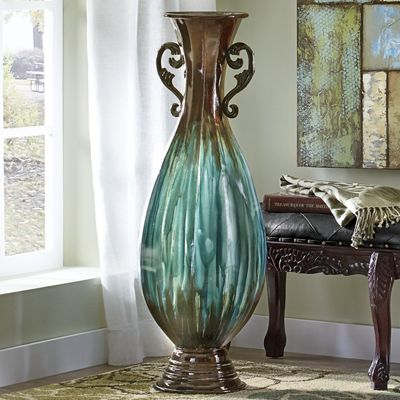 Large blue ombre vase with handles from seventh avenue dw751234 - Large decorative vases and urns ...