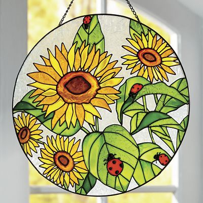 Sunflower and Ladybug Stained Glass Panel