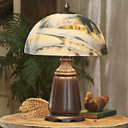 Hand-Painted Winter Scene Lamp
