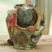 Ceramic Cardinal and Pinecone Fountain