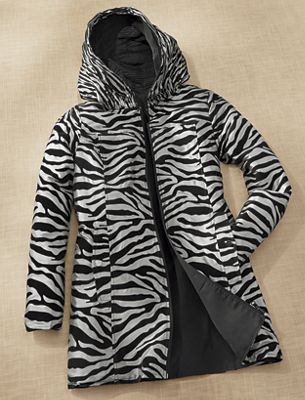 Reversible Zebra Pattern Coat