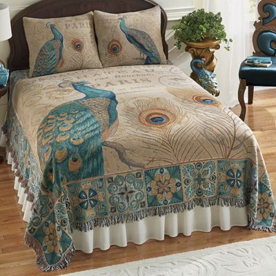 Majestic Peacock Coverlet and Sham Pair