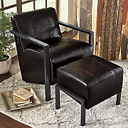 Padded Arm Chair with Ottoman