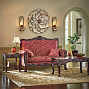 regal romantic hand carved loveseat and tables