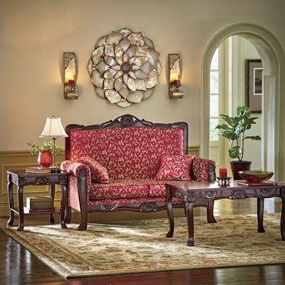 Regal Romantic Hand-Carved Loveseat and Tables