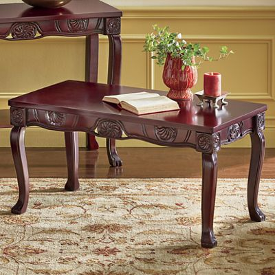 Regal Romantic Hand-Carved Coffee Table