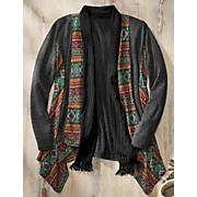 mixed fabric open cardigan
