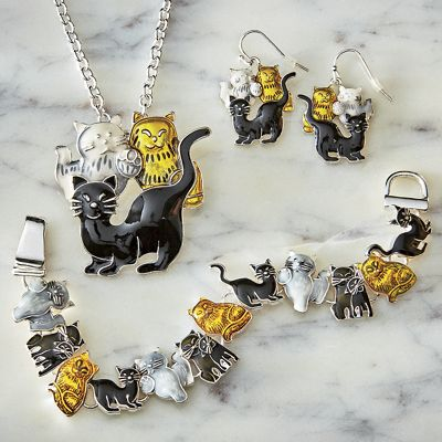 Cats Necklace/Earring/Bracelet Set