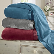 satin trim plush blanket
