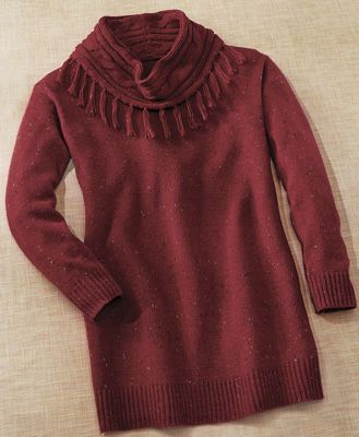 Fringed Cable Knit Sweater