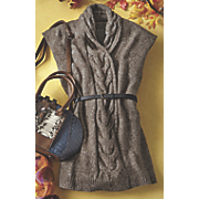 Cable Knit Belted Sweater Vest