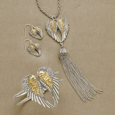 Crystal Wings Two-Tone Jewelry