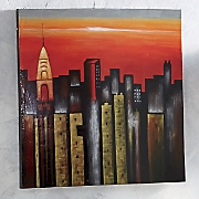 Hand-Painted City Canvas