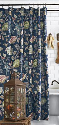 Autumn Leaves Navy Shower Curtain