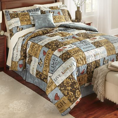 Sentiments Comforter Set, Accent Pillow and Window Treatments