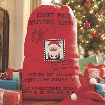 Santa Sack with 2 Santa Hats
