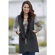 jenna faux fur collar sweater vest