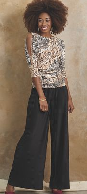 a Style Cold-Shoulder Top and Jesenia Pleated Pant
