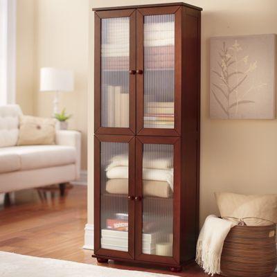 Reeded Glass 4-Door Cabinet