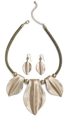 Leaf Necklace/Earring Set