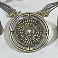 Crystal/Medallion Long Pendant