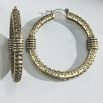 Crystal/Medallion Hoop Earrings