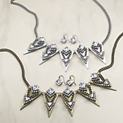 Crystal/Triangle Necklace/Earring Set