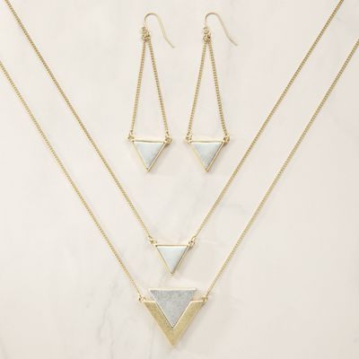 Two-Tone Triangle Long Necklace/Earring Set