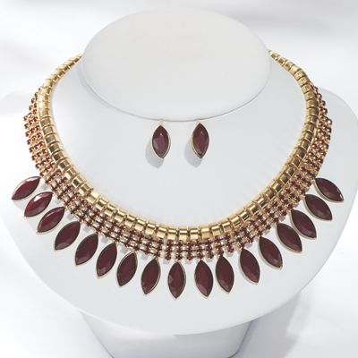 Faceted Bead Necklace/Earring Set