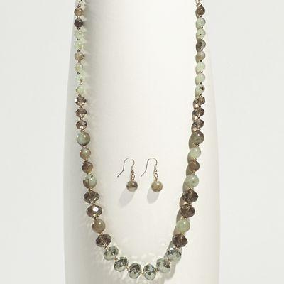 Green/Goldtone Long Necklace/Earring Set