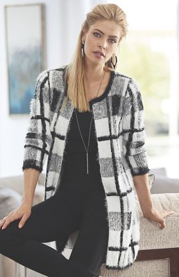Blair Black/White Colorblock Sweater Jacket