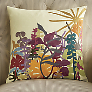 Sun and Flowers Square Pillow