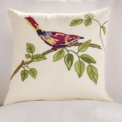 Red Bird On Branch Pillow