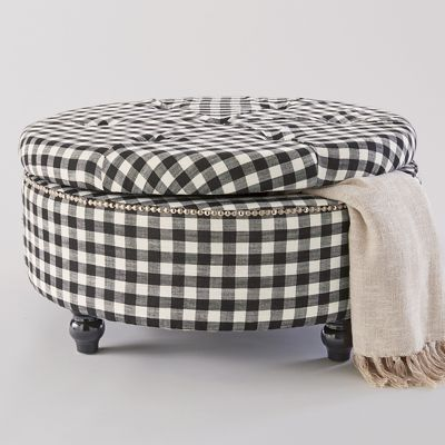 Black Check Storage Ottoman