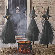 Set of 3 Black Witch Stakes
