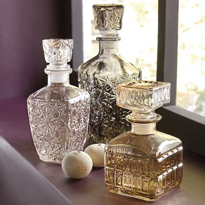 Set of 3 Etched Decanters