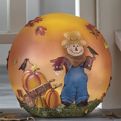 Autumn Scarecrow Lighted Globe