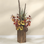 Sunflower Branch Arrangement in Wood Box