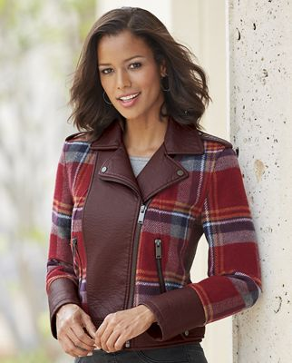 Wool-Plaid Moto Jacket