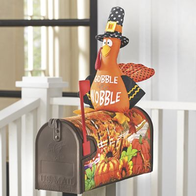 Mailbox Cover - Pumpkin Leaves Turkey