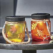 Set of 2 Autumn Lighted Mason Jars