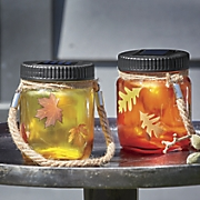 Set of 2 Autumn Lighted Mason Jars