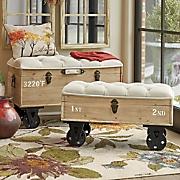 set of 2 steamer trunks