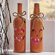 Set of 2 Jack-O-Lantern Bottles