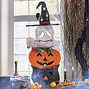 Wooden Ghost Pumpkin Cat Stack